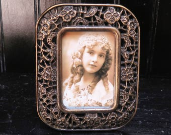 Tiny Antiqued Brass Tone 1.5 x 2.25  Metal picture Frame