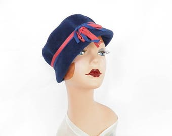 Vintage blue hat, 1960s toque, pink blue ribbon, Italy