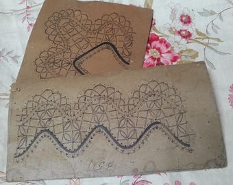 Antique Vintage French Bobbins Lace Making Pattern Pillow Cards hand drawn pinned