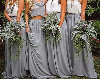 Long Gray chiffon skirt, maxi skirt