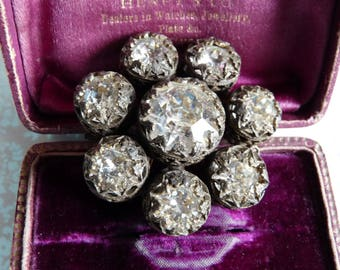 Antique Czech Bohemian Rhinestones Brooch Statement Gothic Style Book Piece