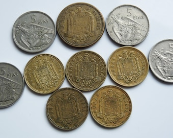 Lot of 10 Spanish Pesetas Coins ~ Ten Vintage Coins Spain