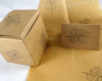 50 custom stamped brown kraft gift boxes, tissue paper and tiny gift cards at wholesale discount - choose leaf, flower or love birds stamp