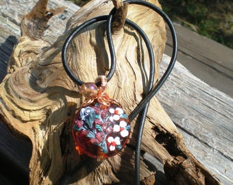 Wire Wrapped Floral Lampwork Pendant in Amber Colored Glass