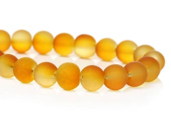 """50 Beads - 8mm Yellow and Orange Frosted Rubberized Glass Round Beads - 16"""" strand - Approx 50 beads per strand - Hole Size: 1.5mm"""