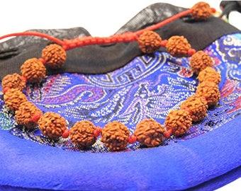 Handmade Individually Knotted Rudraksha Wrist Mala Yoga Bracelet