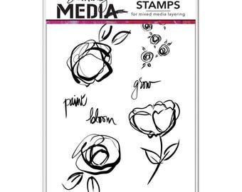 Abstract Blooms Flower Stamp Set - Ranger Dina Wakley Media Stamps - Sketched Floral Stamps