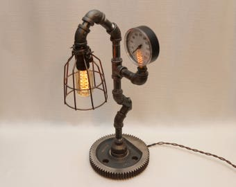 "20"" Steampunk Industrial Pipe Lamp with Industrial Gear Base from Boston, Pressure Gauge, Edison Filament Bulb, and Full-range Rotary Dimmer"
