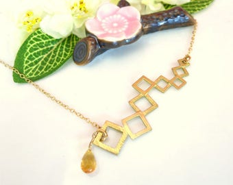 Abstract gold square line citrine gold filled necklace, gold square bar statement necklace