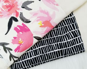 Burp Cloth Set, Aquarelle Floral and black and white stacked, baby shower gift, baby essentials