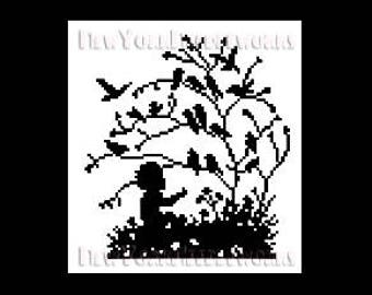 Child With Birds in Tree Cross Stitch, Cross Stitch, Birds Silhouette, Crochet Heart, Birds Silhouettes from NewYorkNeedleworks on Etsy