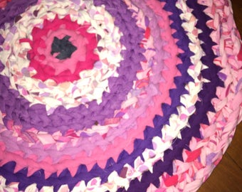 Pinkalicious Crochet Upcycled Rug