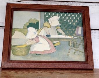 Vintage Framed Sunbonnet Babies Ironing Day Print