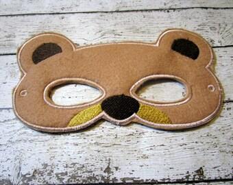 Adult Felt Bear Mask, Bear Mask, Teen Costume Mask, Party Favor Mask, Animal Mask, Machine Stitched, Pretend Play, Adult Mask