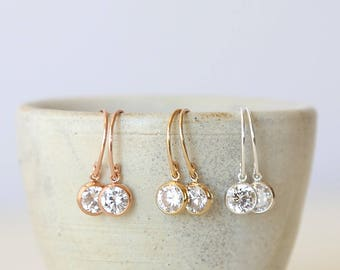 Cubic Zirconia Circle Dangle Drop Earrings // 14K Gold Filled // Rose Gold Filled // Sterling Silver // Modern Everyday Simple Jewelry