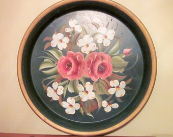 Green Tole Tray, Vintage, Handpainted Flowers, Wedding, Cottage Chic, French Country