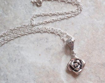 Cognac Diamond Necklace Sterling Silver Floral Rose Upcycled Vintage CW0295