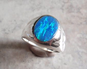 Black Opal Ring Gilson Lab Created Sterling Silver Size 10 Vintage AT0056