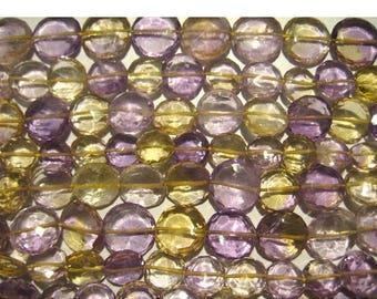 ON SALE 55% Ametrine - Ametrine Faceted Coin Shape Briolettes 6mm  - 4 Inch Strand 13 Pieces