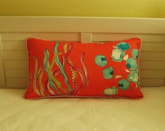 """Ocean Coral 14""""x24""""  Lumbar Pillow Cover with Wavy Coral Piping"""