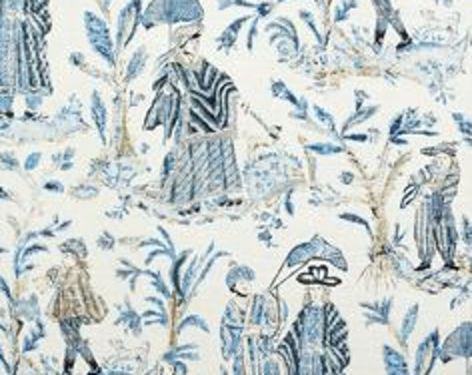 Thibaut Royal Toile in Turquoise and Navy Designer Pillow Cover -  Square, Lumbar and Euro Pillow Cover Sizes