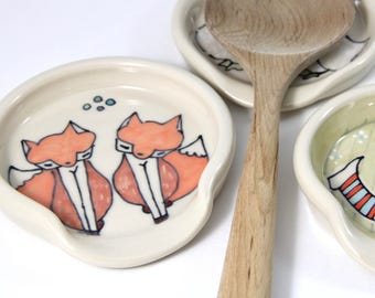 Foxes Spoon Rest Full Size Spoonrest for serving and cooking fox illustration woodland animal themed pottery home and kitchen cute gift