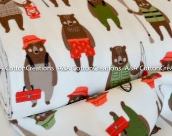 Bear Fabric, Quilting Cotton, Brawny Bears Collection, Camping Fabric, Robert Kaufman Fabrics, Boy quilt, Premium cotton, choose the cut