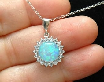 Blue Opal Necklace Yellow Gold Necklace, CZ Diamond Necklace, Gold Pendant, Sterling Silver Necklace, Opal Jewelry,