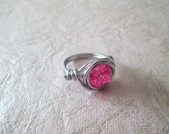 Beaded wire wrap ring, pink glitter bead, size 6 3/4