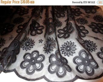 ON SALE Black on Black Daisy Design Embroidered Organza Fabric--One Yard