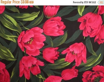 ON SALE Dramatic Ruby Tulips Print Pure Cotton Fabric from Michael Miller--One Yard