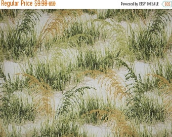 ON SALE Muted Realistic Beach Grass Print Pure Cotton Fabric--By the Yard
