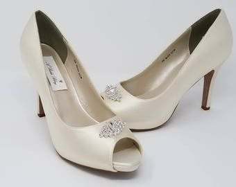 Ivory Wedding Shoes Ivory Bridal Shoes with a Sparkling Crystal Art Deco Design -  Over 100 Colors To Pick From