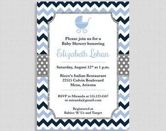 Baby Shower Invitation, Navy Blue Chevron Baby Shower Invite, Silver Glitter, Baby Boy, DIY PRINTABLE