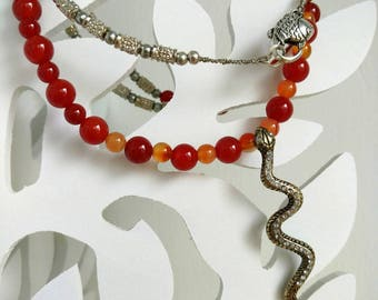 OOAK Gemstone Necklace, Carnelian Beads, Agate Stone Beads, Silver Plated Spacers, Summer Jewelry