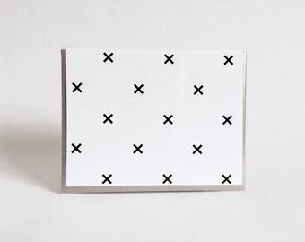 greeting card: geometric black and white card, x, treasure