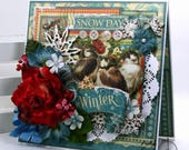 Winter Snow Day Greeting Card Polly's paper Studio Graphic 45 Handmade