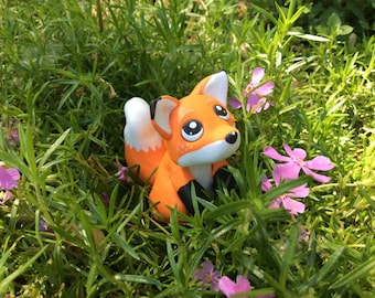 Freckled Fox Figurine made from Polymer Clay