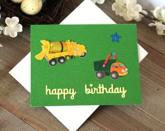 Handmade Young Boy Birthday Card, Green Glitter, Truck, Cement Mixer, Star, Happy Birthday, Blank Inside, Unique, Free US Shipping,
