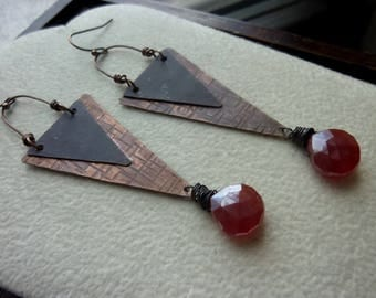 Long Triangular Antique Copper with Mystic Faceted Red Orange Chalcedony Briolette Earrings, Long Earrings, Statement, Rustic, Bohemian