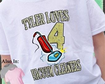 Vacuum Cleaner Shirt - Vacuum Big Number Birthday Shirt - Vacuum Shirt Personalized with Name - Birthday Party Shirt - I love Vacuum's