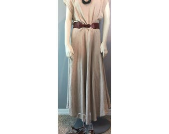 Vintage Banana Republic Tan Beige Linen Blend  Maxi Dress Size 12 Made in USA