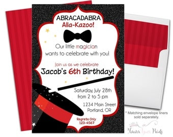 Magician Birthday Invitation - Magic Party Invitation - Magic Show Birthday - Magician Invitation - Magic Party Invite - Red and Black
