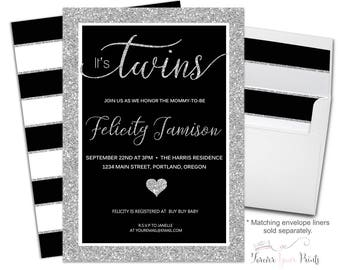 Twins Baby Shower Invitation - Twins Baby Shower Invite - Baby Shower Invite Neutral - Printable Baby Shower - Printed Invitations - Silver
