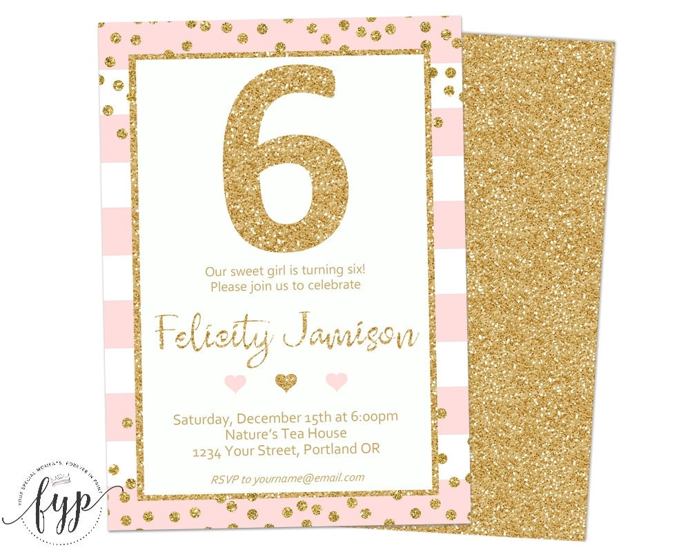 pink and gold birthday invitation 6th birthday invitation