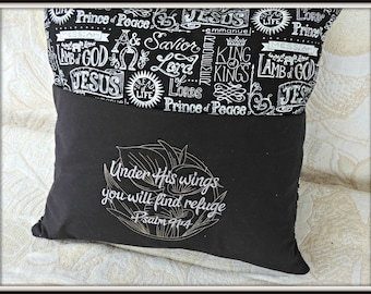 Pocket book pillow, bible pocket pillow, Psalm 91:4, under his wings you will find refuge, Bible pocket reading pillow, Christian gift,