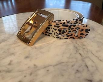 Women and Girls Gold Cheetah Print Belt