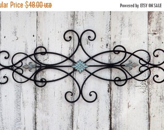 ON SALE Wrought Iron Wall Decor / Patina / Fleur de Lis / Shabby Chic Decor / Bedroom Wall Decor / Kitchen Decor
