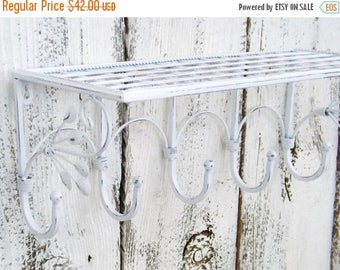 ON SALE Rustic Metal Shelf / Bathroom Shelf / Metal Shelf / Shabby Chic / Wall Shelf / Jewelry Organizer