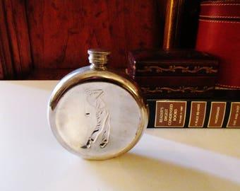 Vintage English Pewter Flask, Golfer Silver Flask, Fine English Pewter, Craftsmen Flask, Sheffield England Hip Flask, Gift for Golfer